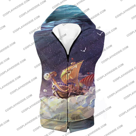 Image of One Piece Super Cool Straw Hat Ship Going Merry Amazing T-Shirt Op049 Hooded Tank Top / Us Xxs