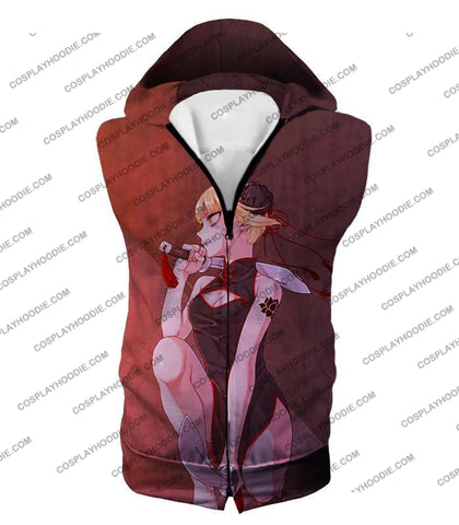 Image of My Hero Academia Transforming Villain Himiko Toga Cool Anime T-Shirt Mha099 Hooded Tank Top / Us Xxs