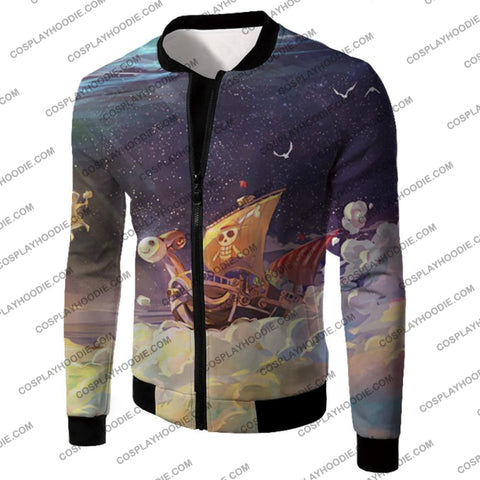 Image of One Piece Super Cool Straw Hat Ship Going Merry Amazing T-Shirt Op049 Jacket / Us Xxs (Asian Xs)