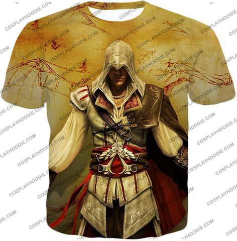 Image of Assassins Creed Cool Ezio Firenze Awesome Graphic Promo T-Shirt Ac005 / Us Xxs (Asian Xs)