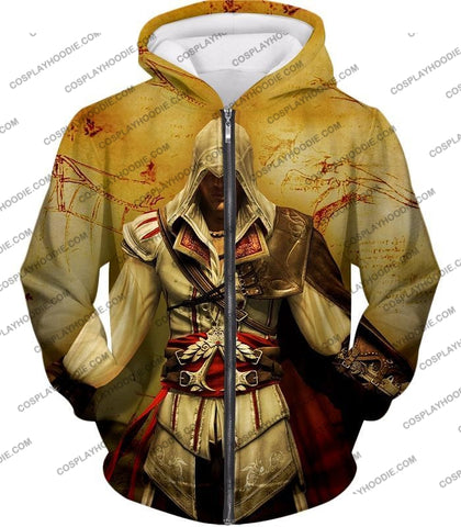 Image of Assassins Creed Cool Ezio Firenze Awesome Graphic Promo T-Shirt Ac005 Zip Up Hoodie / Us Xxs (Asian