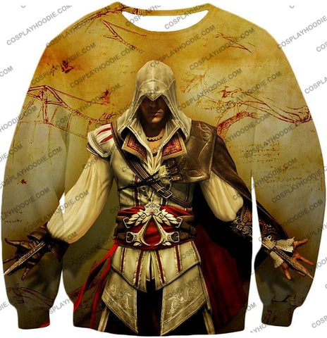 Image of Assassins Creed Cool Ezio Firenze Awesome Graphic Promo T-Shirt Ac005 Sweatshirt / Us Xxs (Asian Xs)