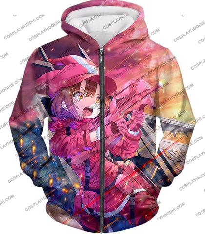 Image of Sword Art Online Pink Devil Llenn Action Gun Gale Player Cool Anime Graphic T-Shirt Sao050 Zip Up