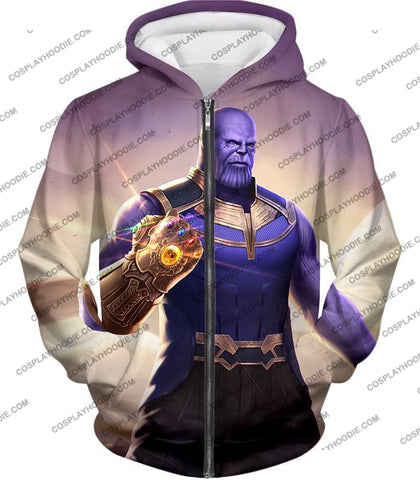 Image of The Avengers Cool Titan Thanos Infinity Gauntlet T-Shirt Ta050 Zip Up Hoodie / Us Xxs (Asian Xs)