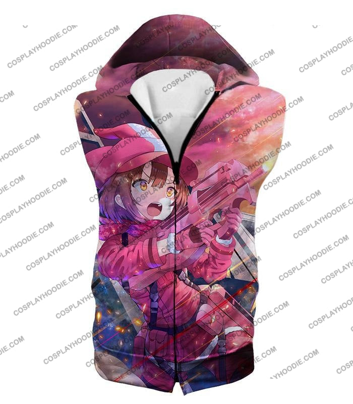 Sword Art Online Pink Devil Llenn Action Gun Gale Player Cool Anime Graphic T-Shirt Sao050 Hooded