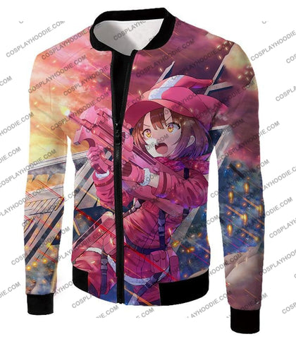 Sword Art Online Pink Devil Llenn Action Gun Gale Player Cool Anime Graphic T-Shirt Sao050 Jacket /