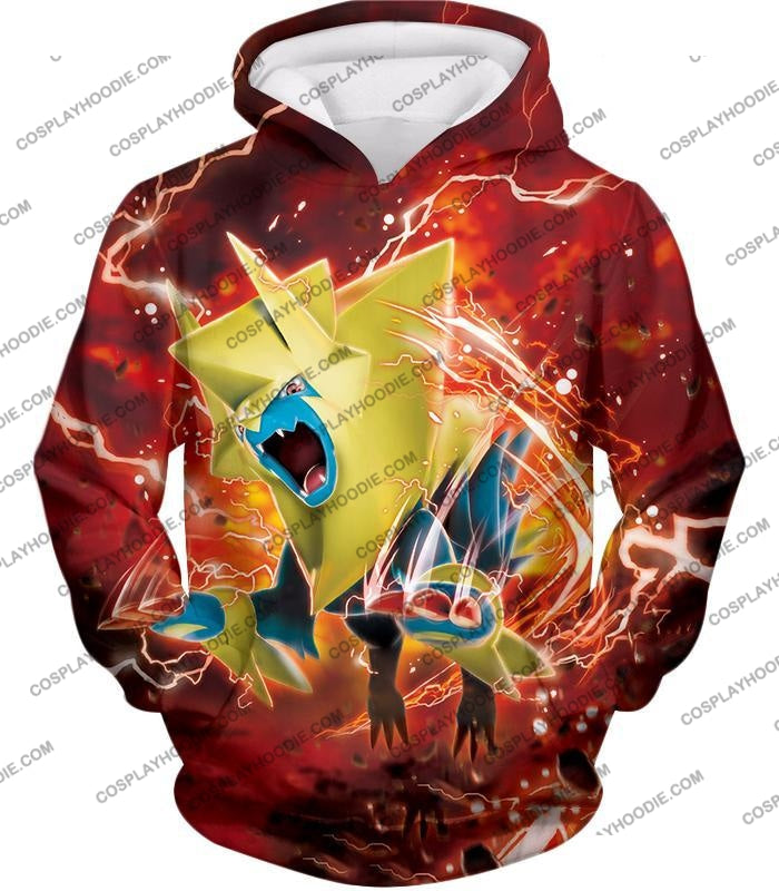Pokemon Amazing Electric Type Mega Manectric Hd Action Red T-Shirt Pkm051 Hoodie / Us Xxs (Asian Xs)