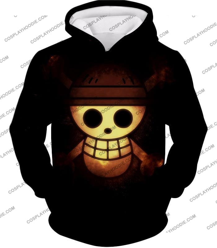 One Piece Amazing Pirate Flag Logo Cool Black T-Shirt Op051 Hoodie / Us Xxs (Asian Xs)
