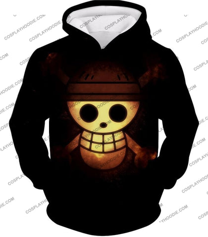 Image of One Piece Amazing Pirate Flag Logo Cool Black T-Shirt Op051 Hoodie / Us Xxs (Asian Xs)