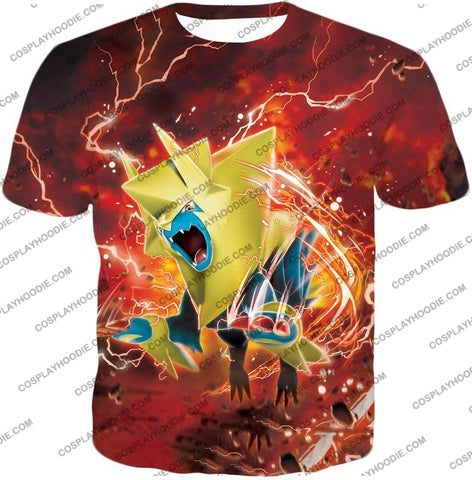 Image of Pokemon Amazing Electric Type Mega Manectric Hd Action Red T-Shirt Pkm051 / Us Xxs (Asian Xs)