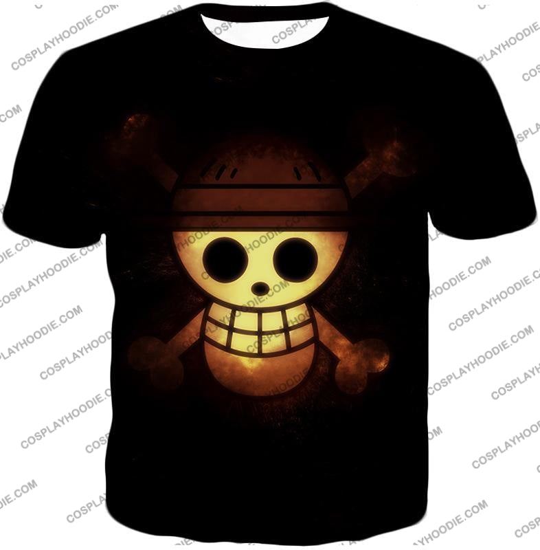 One Piece Amazing Pirate Flag Logo Cool Black T-Shirt Op051 / Us Xxs (Asian Xs)