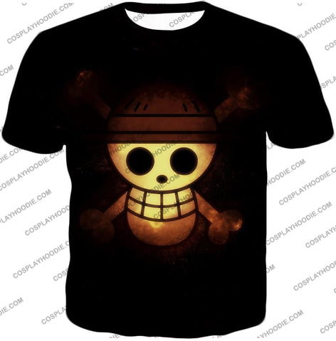 Image of One Piece Amazing Pirate Flag Logo Cool Black T-Shirt Op051 / Us Xxs (Asian Xs)