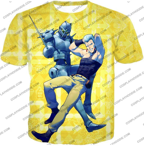 Image of Jean Pierre Polnareff Stand Silver Chariot Graphic T-Shirt Jo051 / Us Xxs (Asian Xs)