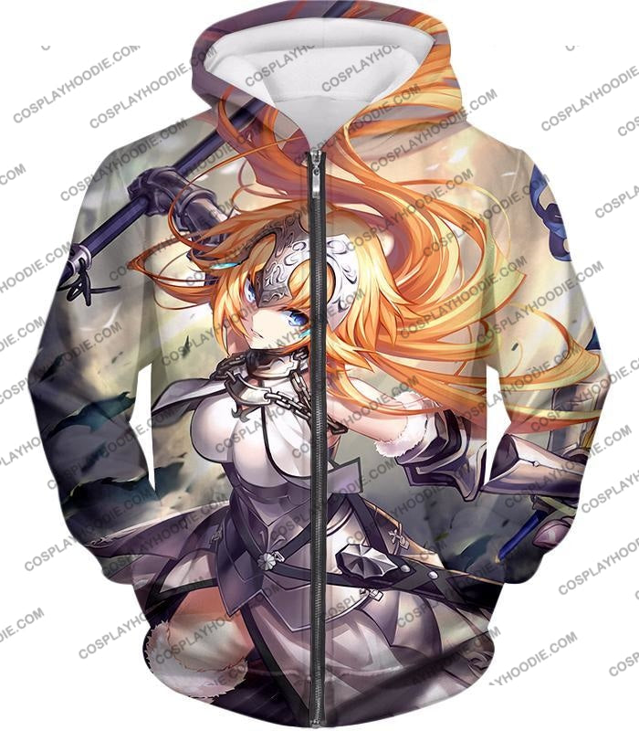Fate Stay Night Powerful Ruler Class Fighter Jeanne Darc T-Shirt Fsn051 Zip Up Hoodie / Us Xxs