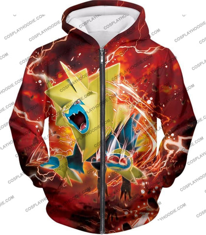 Image of Pokemon Amazing Electric Type Mega Manectric Hd Action Red T-Shirt Pkm051 Zip Up Hoodie / Us Xxs