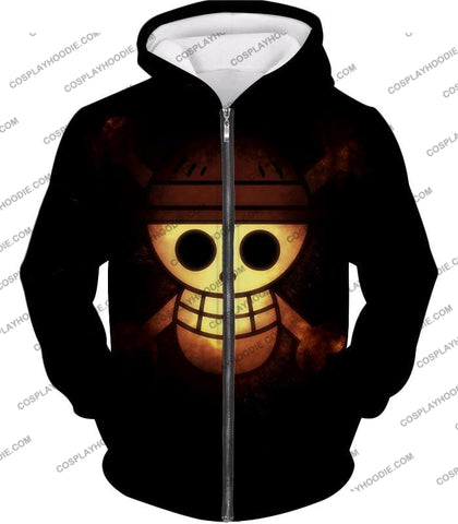 Image of One Piece Amazing Pirate Flag Logo Cool Black T-Shirt Op051 Zip Up Hoodie / Us Xxs (Asian Xs)