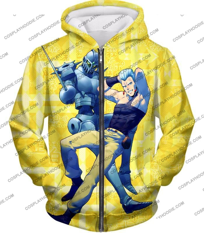 Jean Pierre Polnareff Stand Silver Chariot Graphic T-Shirt Jo051 Zip Up Hoodie / Us Xxs (Asian Xs)