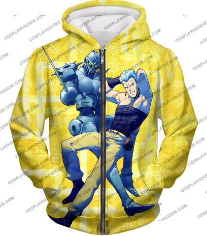 Image of Jean Pierre Polnareff Stand Silver Chariot Graphic T-Shirt Jo051 Zip Up Hoodie / Us Xxs (Asian Xs)