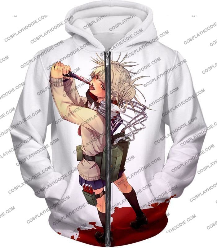 My Hero Academia Thristy For Blood Transforming Villain Toga Himiko Action White T-Shirt Mha101 Zip