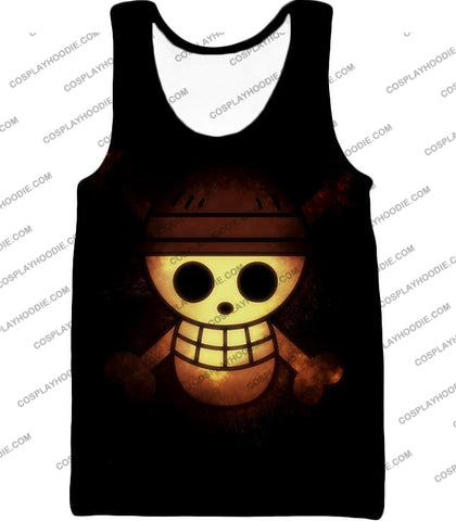 Image of One Piece Amazing Pirate Flag Logo Cool Black T-Shirt Op051 Tank Top / Us Xxs (Asian Xs)