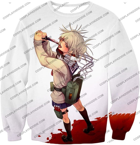 Image of My Hero Academia Thristy For Blood Transforming Villain Toga Himiko Action White T-Shirt Mha101