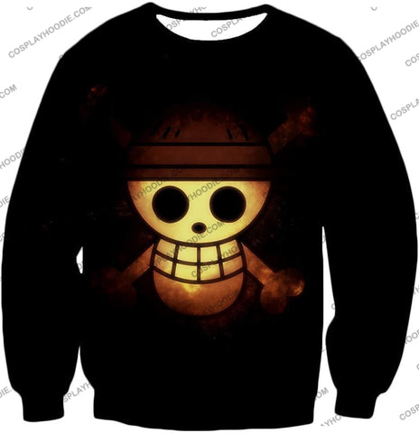 Image of One Piece Amazing Pirate Flag Logo Cool Black T-Shirt Op051 Sweatshirt / Us Xxs (Asian Xs)