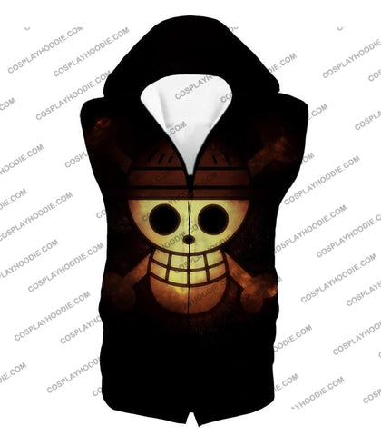 Image of One Piece Amazing Pirate Flag Logo Cool Black T-Shirt Op051 Hooded Tank Top / Us Xxs (Asian Xs)