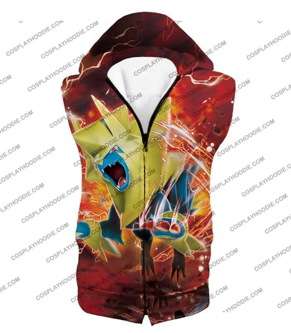 Pokemon Amazing Electric Type Mega Manectric Hd Action Red T-Shirt Pkm051 Hooded Tank Top / Us Xxs