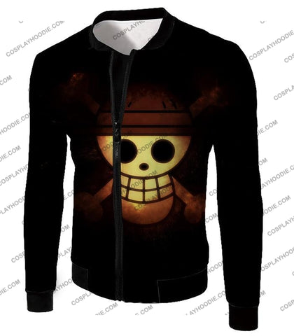 Image of One Piece Amazing Pirate Flag Logo Cool Black T-Shirt Op051 Jacket / Us Xxs (Asian Xs)