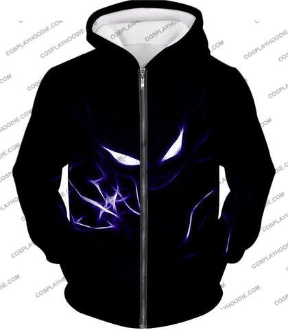 Image of Pokemon Cool Ghost Type Haunter Amazing Black T-Shirt Pkm052 Zip Up Hoodie / Us Xxs (Asian Xs)