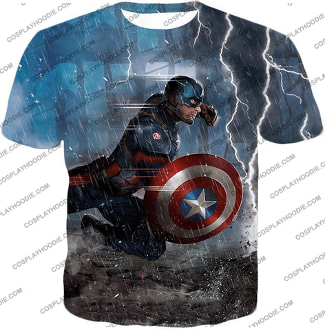 Image of Super Awesome Soldier Captain America Best Action Print T-Shirt Ca053 / Us Xxs (Asian Xs)