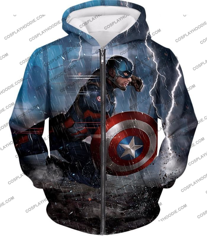 Super Awesome Soldier Captain America Best Action Print T-Shirt Ca053 Zip Up Hoodie / Us Xxs (Asian