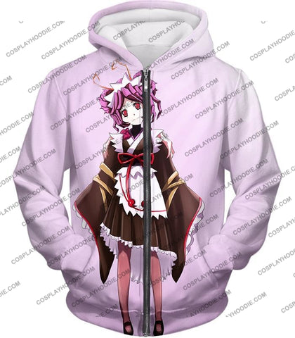 Image of Overlord Super Cool Entoma The Spider-Human Battle Maid Promo White T-Shirt Ol053 Zip Up Hoodie / Us