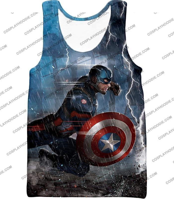 Super Awesome Soldier Captain America Best Action Print T-Shirt Ca053 Tank Top / Us Xxs (Asian Xs)