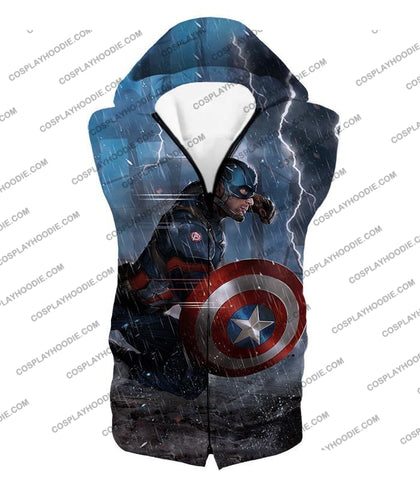 Image of Super Awesome Soldier Captain America Best Action Print T-Shirt Ca053 Hooded Tank Top / Us Xxs