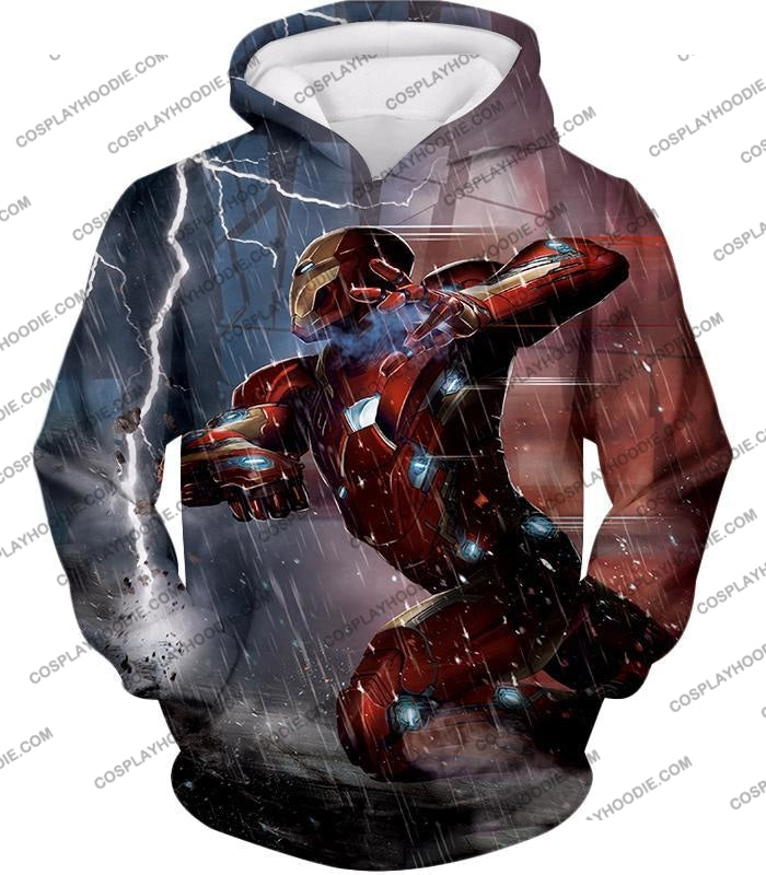 Cool Avenger Iron Man Awesome Action Print T-Shirt Ca054 Hoodie / Us Xxs (Asian Xs)