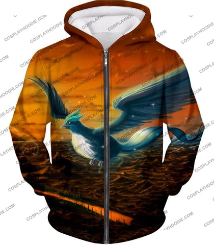 Image of Pokemon Amazing Mystic Flying Ice Articuno Beautiful T-Shirt Pkm054 Zip Up Hoodie / Us Xxs (Asian