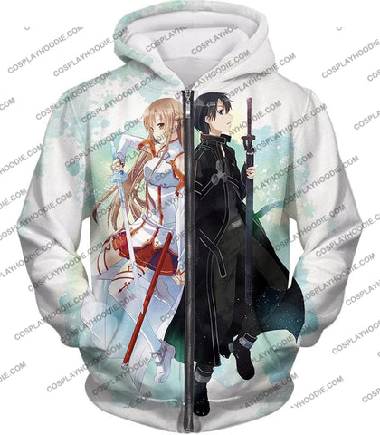 Image of Sword Art Online Sao Promo Best Couple Kirito And Asuna Awesome White T-Shirt Sao054 Zip Up Hoodie /