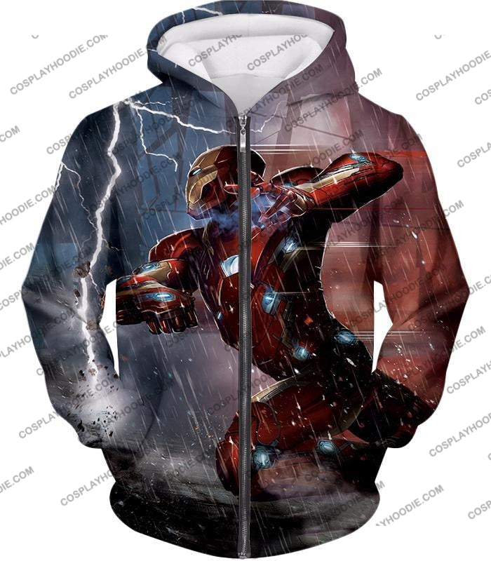 Cool Avenger Iron Man Awesome Action Print T-Shirt Ca054 Zip Up Hoodie / Us Xxs (Asian Xs)