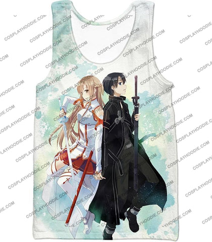 Image of Sword Art Online Sao Promo Best Couple Kirito And Asuna Awesome White T-Shirt Sao054 Tank Top / Us