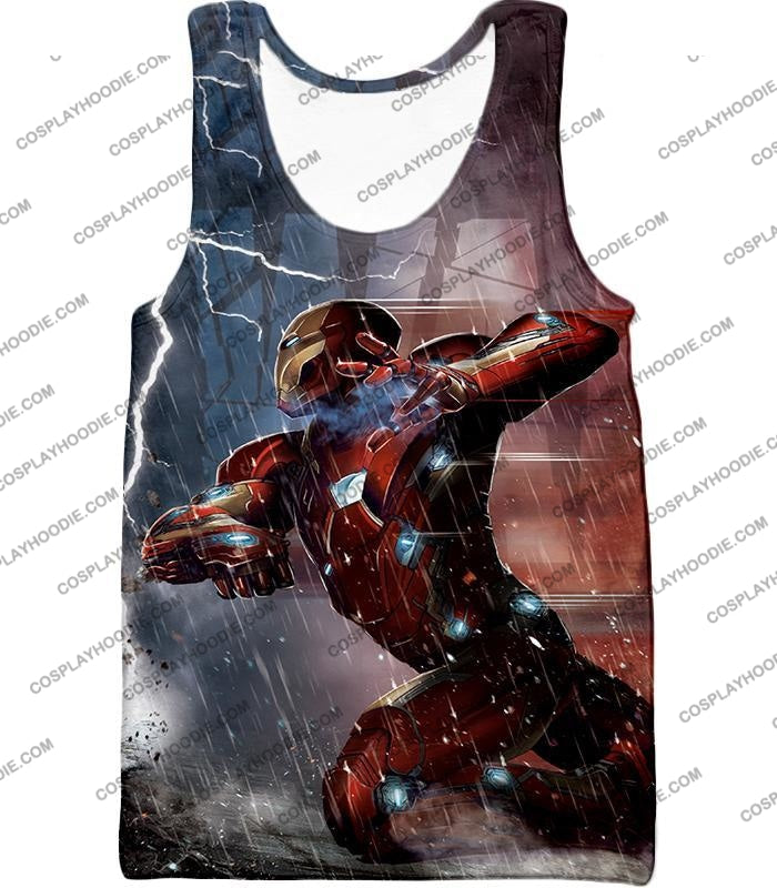 Cool Avenger Iron Man Awesome Action Print T-Shirt Ca054 Tank Top / Us Xxs (Asian Xs)