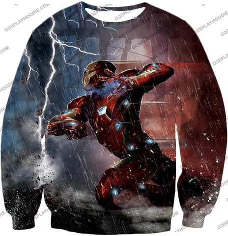 Image of Cool Avenger Iron Man Awesome Action Print T-Shirt Ca054 Sweatshirt / Us Xxs (Asian Xs)