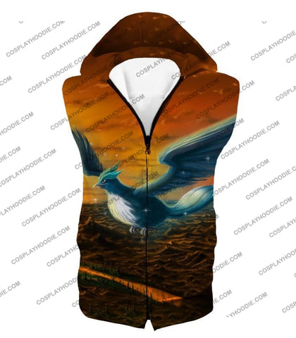 Image of Pokemon Amazing Mystic Flying Ice Articuno Beautiful T-Shirt Pkm054 Hooded Tank Top / Us Xxs (Asian