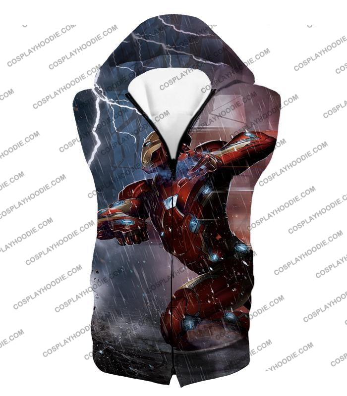 Cool Avenger Iron Man Awesome Action Print T-Shirt Ca054 Hooded Tank Top / Us Xxs (Asian Xs)