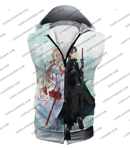 Image of Sword Art Online Sao Promo Best Couple Kirito And Asuna Awesome White T-Shirt Sao054 Hooded Tank Top