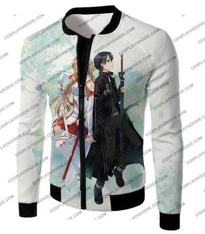 Image of Sword Art Online Sao Promo Best Couple Kirito And Asuna Awesome White T-Shirt Sao054 Jacket / Us Xxs