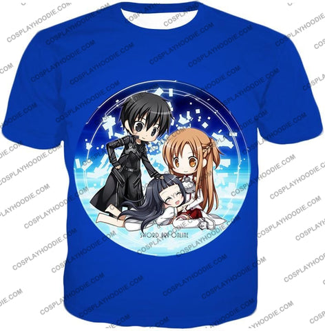 Image of Sword Art Online Super Cool Anime Promo Awesome Blue T-Shirt Sao055 / Us Xxs (Asian Xs)