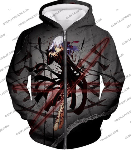 Image of Fate Stay Night Villain Dark Sakura Matou Action T-Shirt Fsn055 Zip Up Hoodie / Us Xxs (Asian Xs)