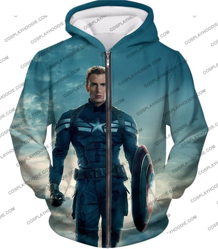 First Avenger Shield Hero Super Soldier Captain America T-Shirt Ca055 Zip Up Hoodie / Us Xxs (Asian