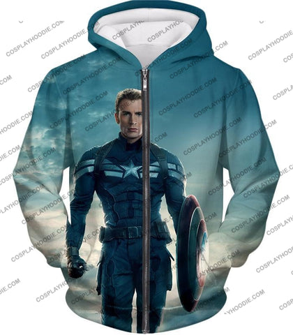 Image of First Avenger Shield Hero Super Soldier Captain America T-Shirt Ca055 Zip Up Hoodie / Us Xxs (Asian